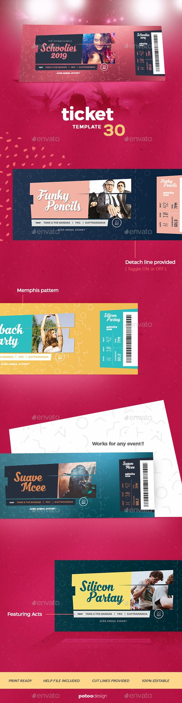 #Event #Tickets Template 30 - Miscellaneous #Print Templates Download here: https://graphicriver.net/item/event-tickets-template-30/20053489?ref=alena994