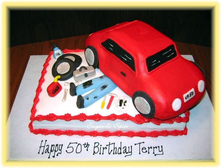auto mechanics cake   Surprise 50th birthday cake for an auto mechanic. Wilton 3D car cake ...