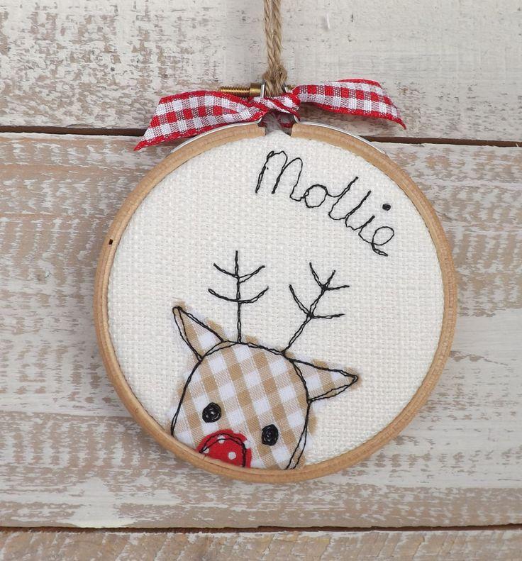 Personalised Christmas bauble reindeer hoop by TheDogandtheMoon on Etsy