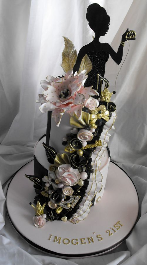 2 tier pink, black and gold 21st birthday cake