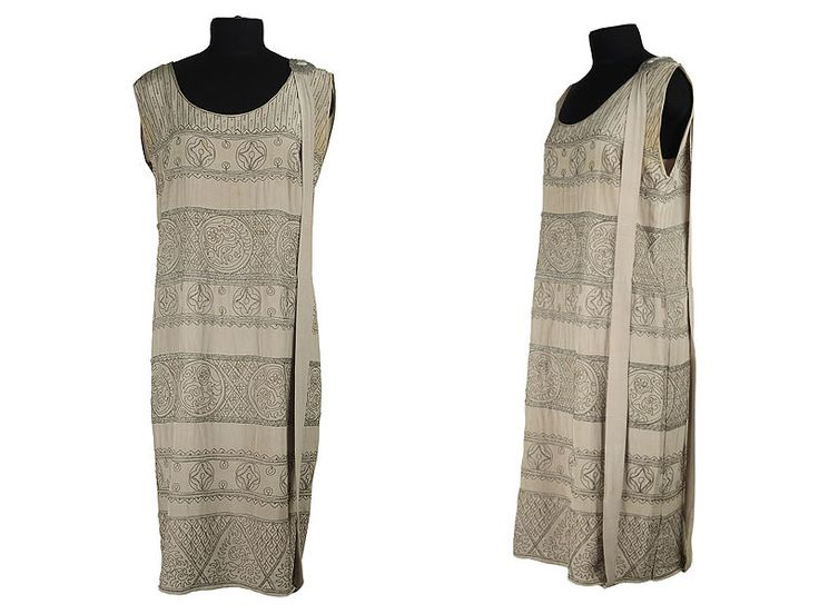 1920s Tunic style dress, decorated with Antique Greek patterns metal beading.