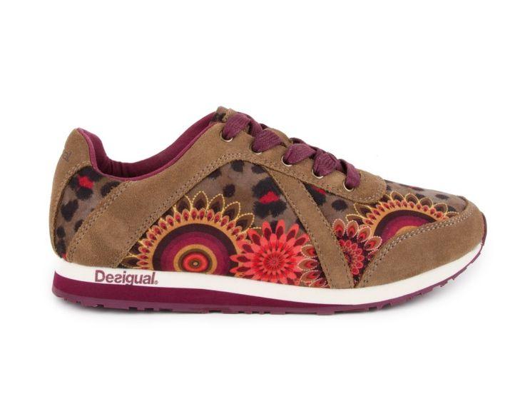 Desigual Tenisky 46KS104/6020 / Hnědá Taupe Multicolour | obujsi.cz - dámská, pánská, dětská obuv a boty online, kabelky, módní doplňky