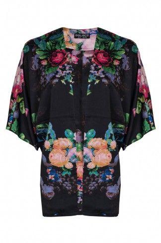 Black Fifties Floral Kimono