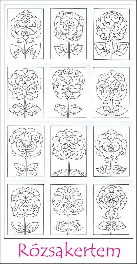 Rózsakertem színező lapok - nyomtatható, Képzőművészet , Grafika, Rajz, Meska