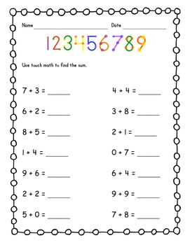 Practice using touch math to find sums of basic facts with this worksheet.  Includes a touch math number line at the top to remind students where the touch points are.Please leave feedback!  Thank you!