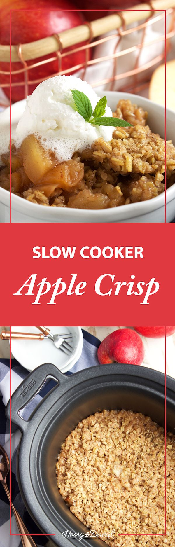 Slow Cooker Apple Crisp recipe. We love the seasonal fall flavors in this easy-to-make dessert. Throw it all in a slow cooker and free up your oven for everything else this holiday season!