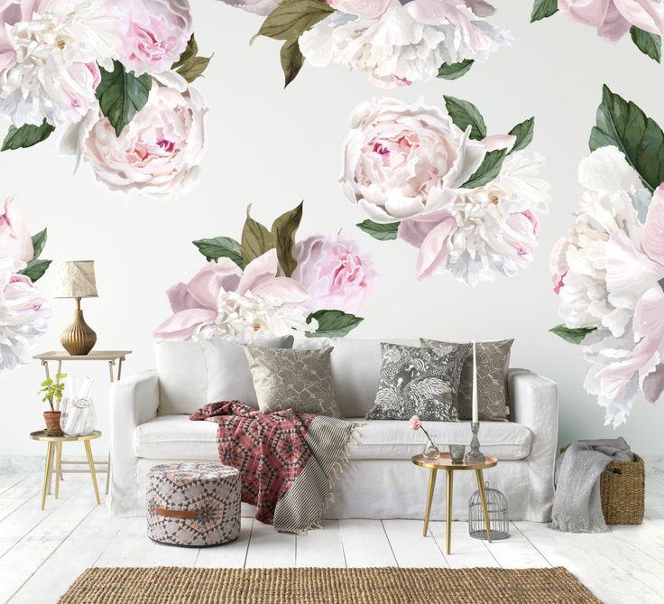 Vinyl wall sticker decals peonies by urbanwalls on etsy https www vintage floral