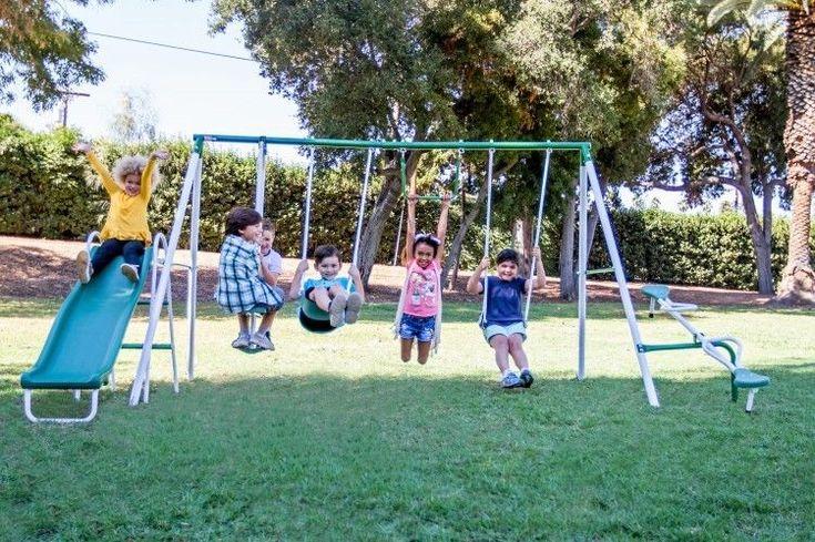 Metal Swing Set Kids Outdoor Activity Center Gym Fun Playhouse Slide Playground #KidsOutdoorActivity
