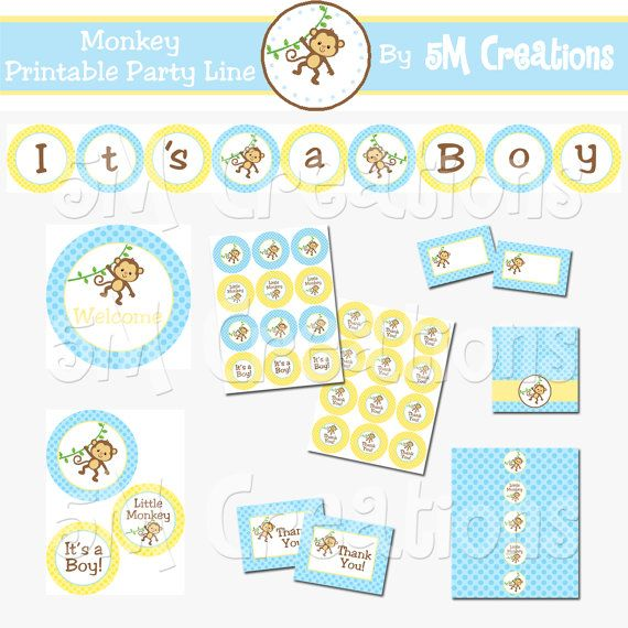 Monkey Baby Shower Decorations  It's a BOY Baby by 5Mcreations