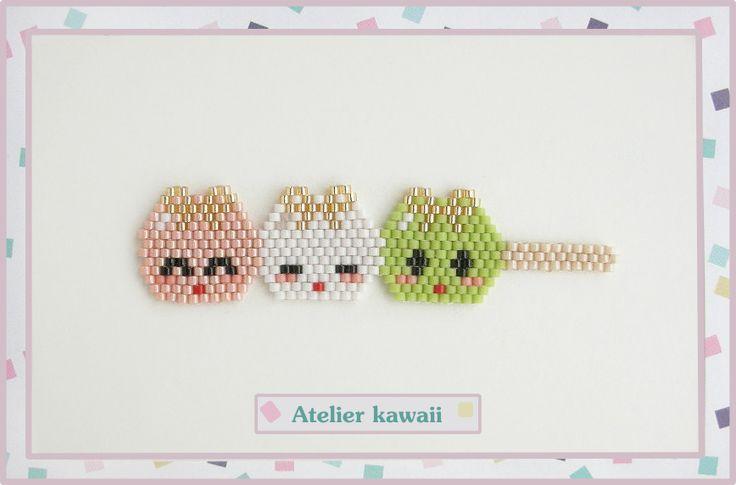 Brochette de dango en perles Miyuki (tissage brick stitch).