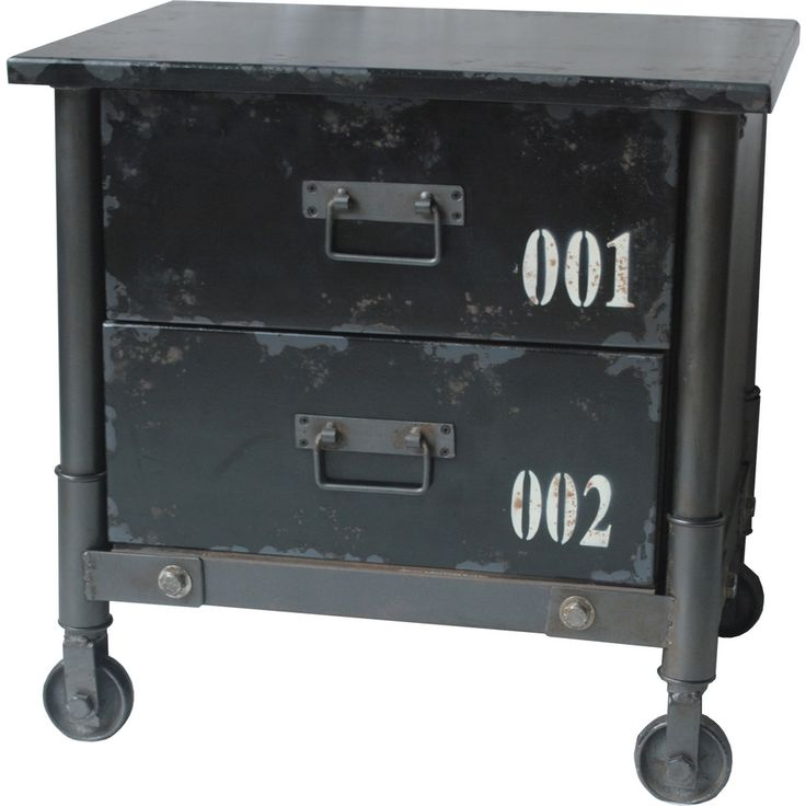 Moeu0027s Home Collection Soho 2 Drawer Cabinet / Accent Table In Distressed  Black Iron W/ Industrial Graphics