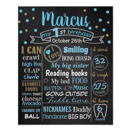 Confetti First Birthday chalkboard sign boy - giftidea gift present idea one first bday birthday 1stbirthday party 1st