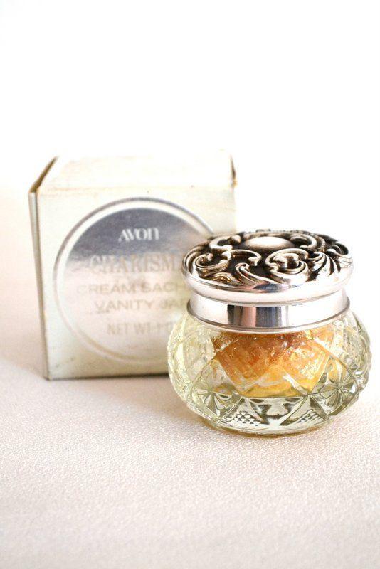 Vintage AVON Charisma Cream Vanity Jar with Cream from 1970