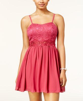 877798d58 BCX Juniors' Glitter Lace Fit & Flare Dress | macys.com | sweet 16 ...