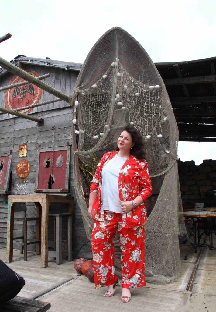 River Island, rode broek met wijde pijp, bloemen print, plus, grote maten