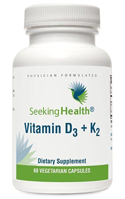 Vitamin D3 + K2   Provides 5000 IU Vitamin D3 and 100 mcg Vitamin K2   60 Vegetarian Capsules   Seeking Health