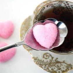 P = Pink Heart Sugar Cubes