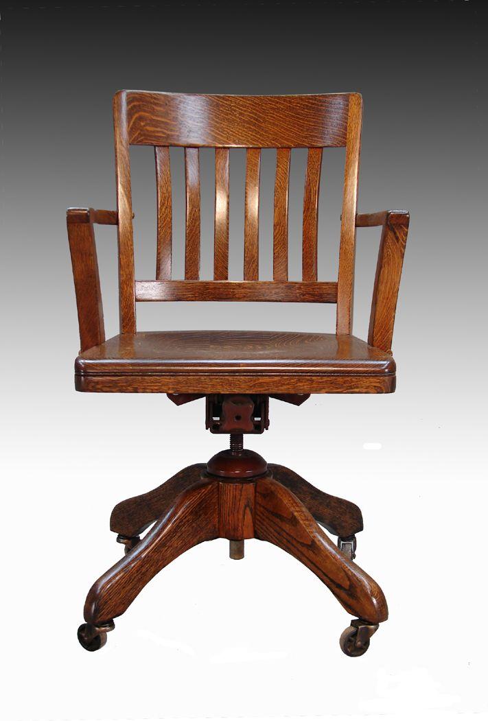 SOLD Tiger Oak Lawyer's Swivel Office Chair | Vintage ...