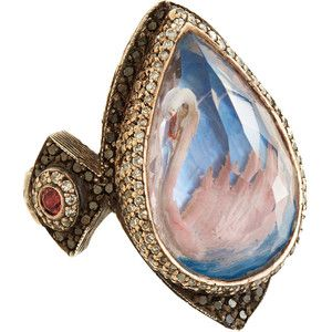 Sevan Bicakci Diamond, Sapphire & Amethyst Swan Ring