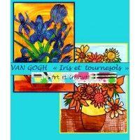 VAN GOGH- Iris et tournesols-activité d'art pour enfants, coloriages et découpages