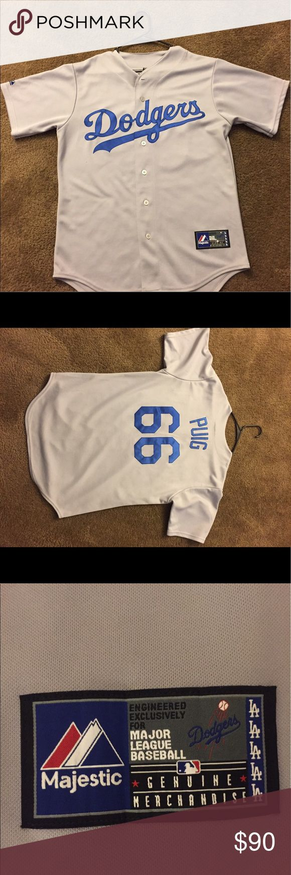 Great Condition Official Puig Dodger Jersey Puig Jersey Men's Medium Dodger Tops Button Down Shirts