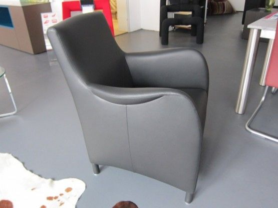 Sessel Mondo, Leder schwarz, von Bielefelder Werkstätten | Designermöbel Sindelfingen