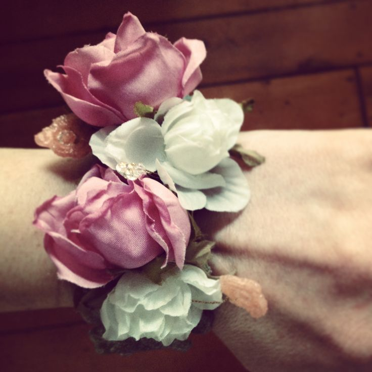 Petal and Pip silk flower, Swarovski crystal, and resin dipped lace, hand made gold-plated wire corsage bracelet. Perfect accessory for a bride, bridesmaid, flower girl, or just wear day-to-day. $120NZD. Custom orders available.