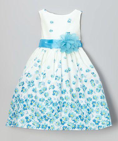 Love this Blue Floral Sash Dress - Toddler & Girls by Kid's Dream on #zulily! #zulilyfinds