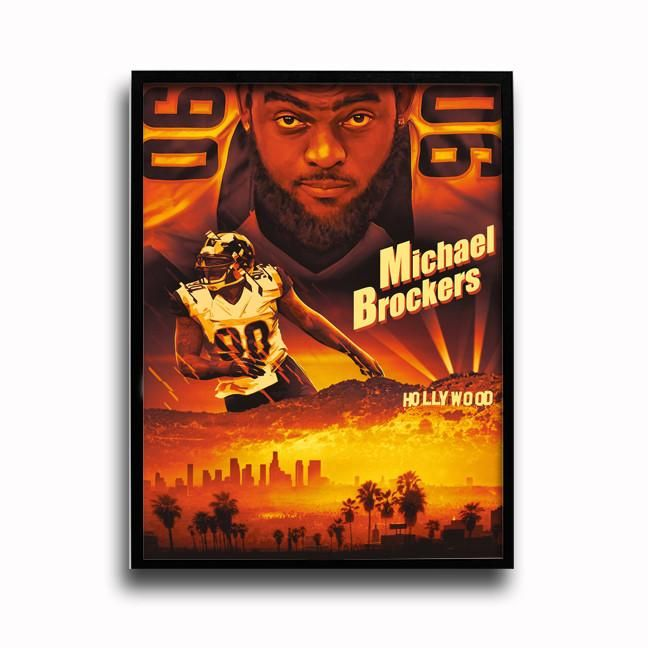 Los Angeles Rams Michael Brockers Blue & Gold Crush 24x18 Football Poster