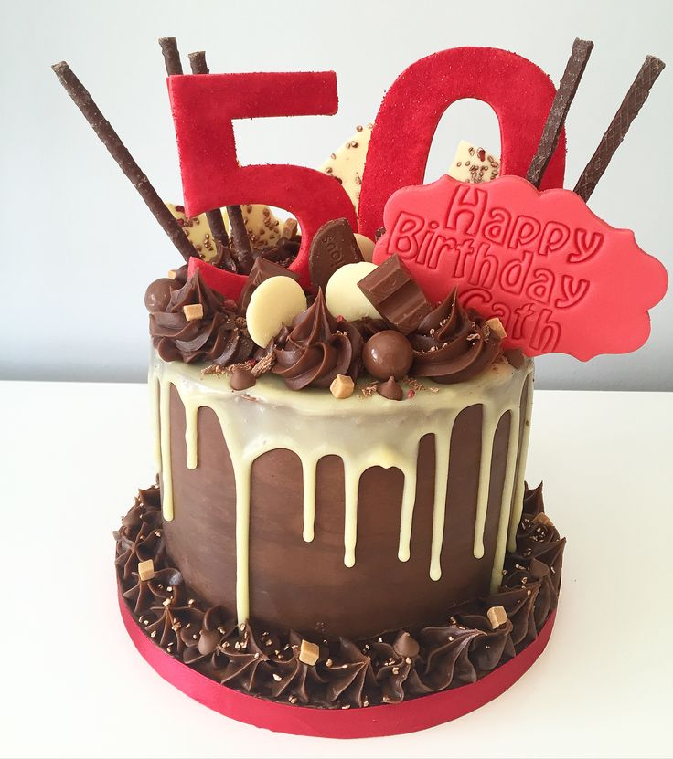 50th Chocolate Drip Cake With Chocolate Treats And White
