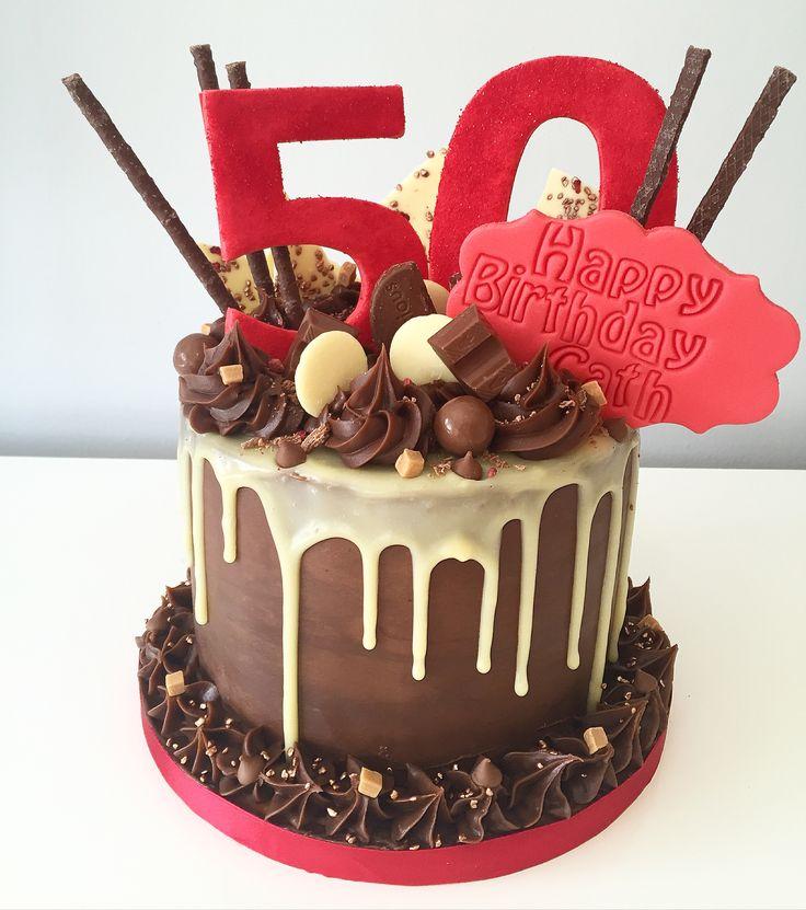 Red Drippy Chocolate Cake