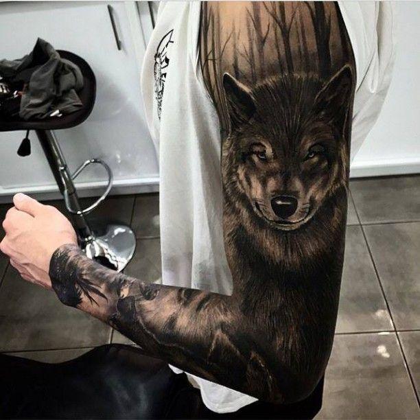 Tattoo Wolf im Wald
