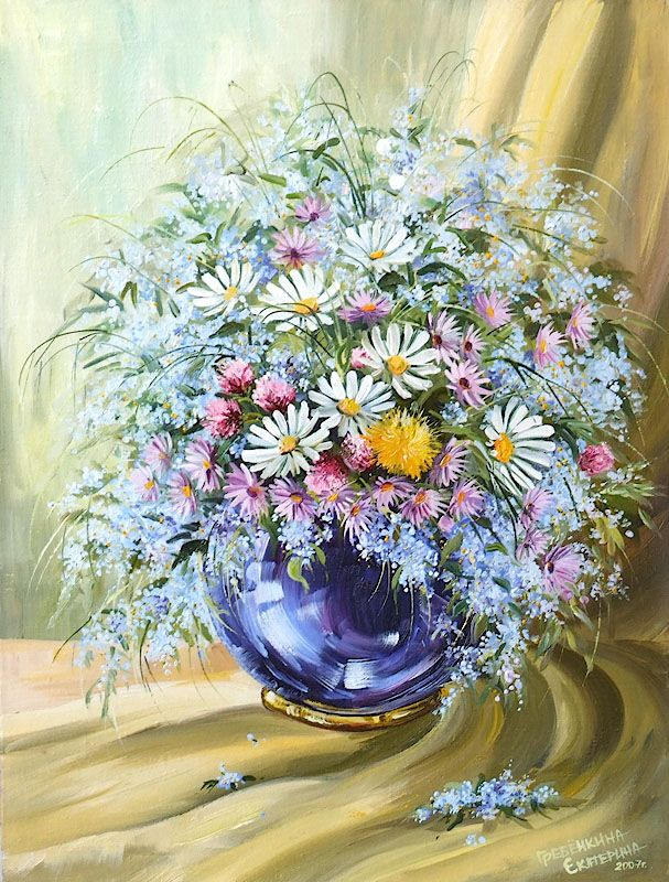 Картины - Цветы - Букет с незабудками (Холст, масло)