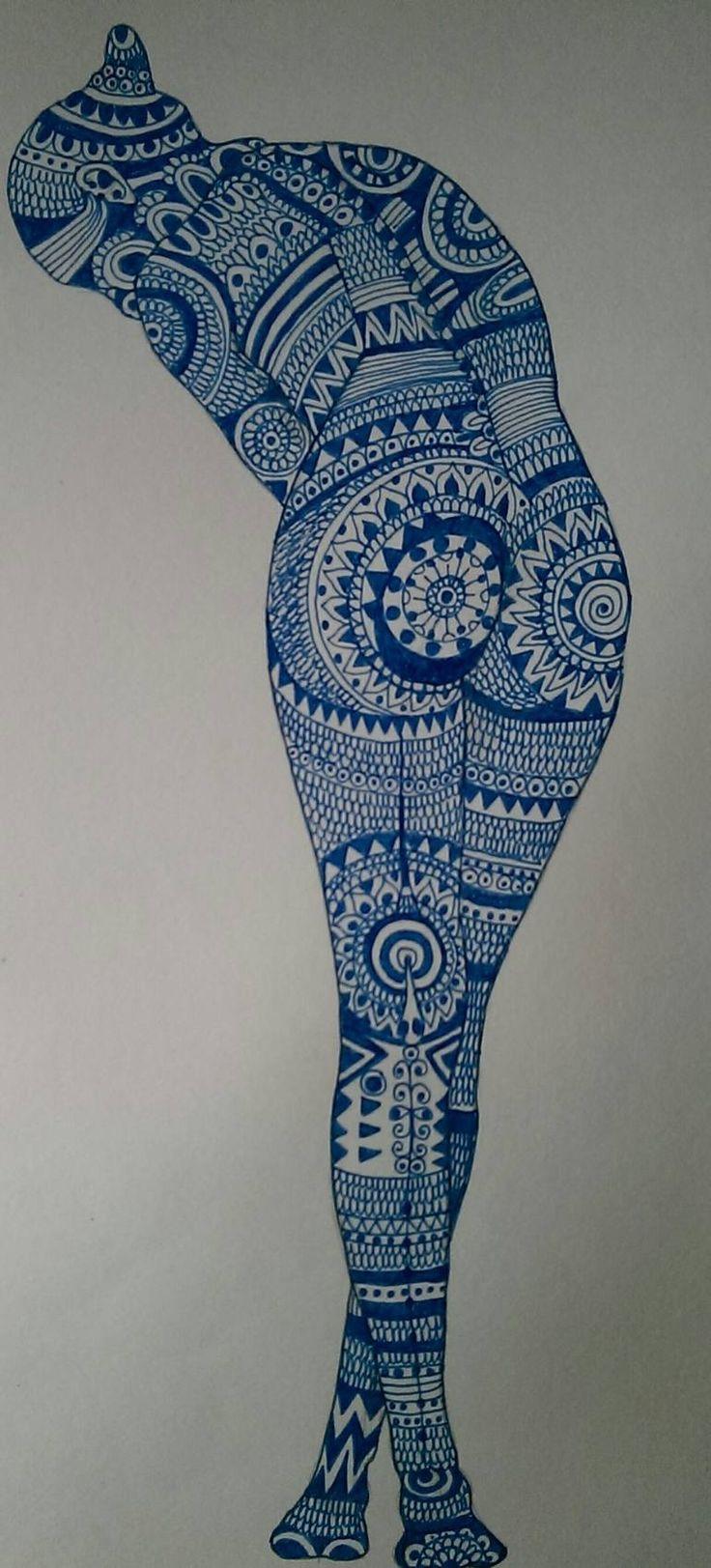 "Saatchi Art Artist Izabella Hornung; Drawing, ""Slow match nr 3 (Blue nude)"" #art"