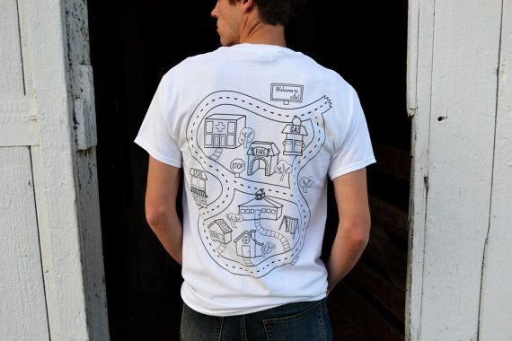 Car Play Shirt OUTLINED: Kids Color in Map, Kids Drive Cars on Map, Back Massage for Dad, Christmas/Father's Day/Birthday Gift
