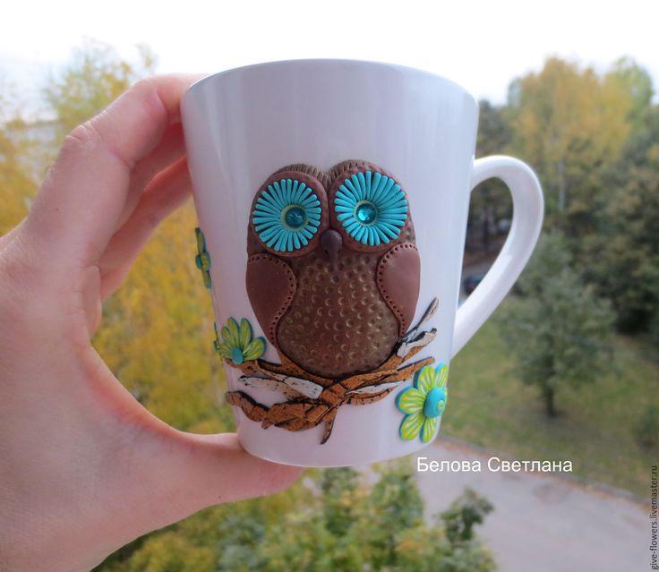 Купить Кружка Сова с декором из полимерной глины - коричневый, сова, сова на кружке, кружка
