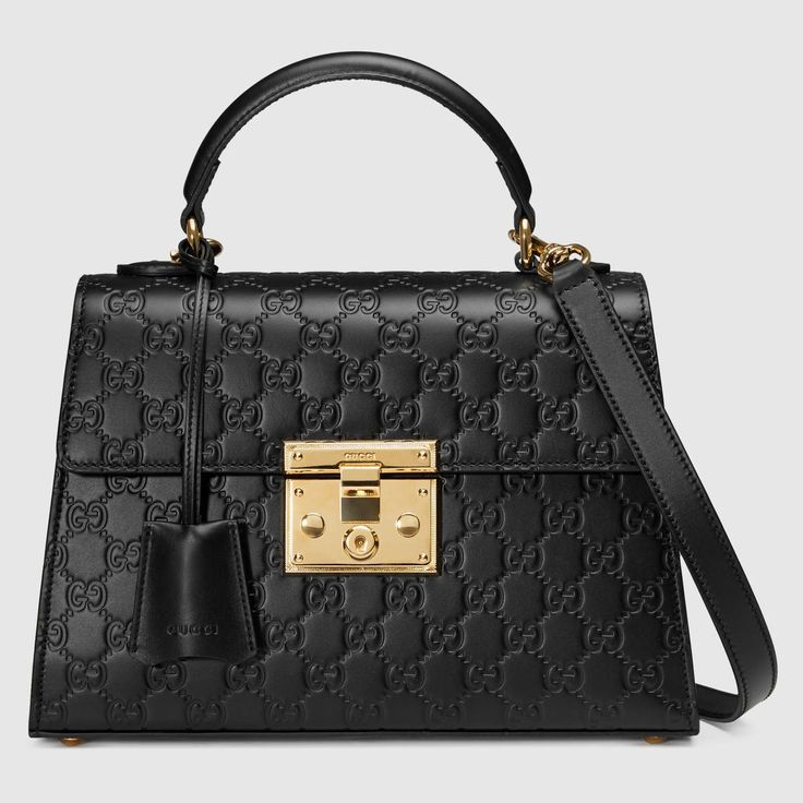 GUCCI Padlock Gucci Signature Top Handle Bag - Black Gucci Signature. #gucci #bags #shoulder bags #hand bags #lace #suede #lining #