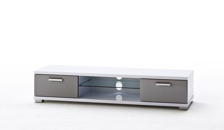 TV-Lowboard grau/ weiss Hochglanz 41-02031