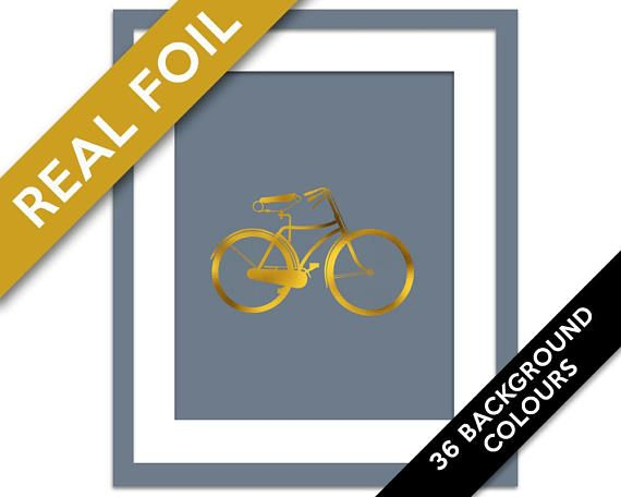 Bicycle Art Print - Gold Foil Print - Gold Foil Bike Poster - Retro Bike - Gift for Cyclist - Gold Bicycle Art - Travel Adventure Art Print