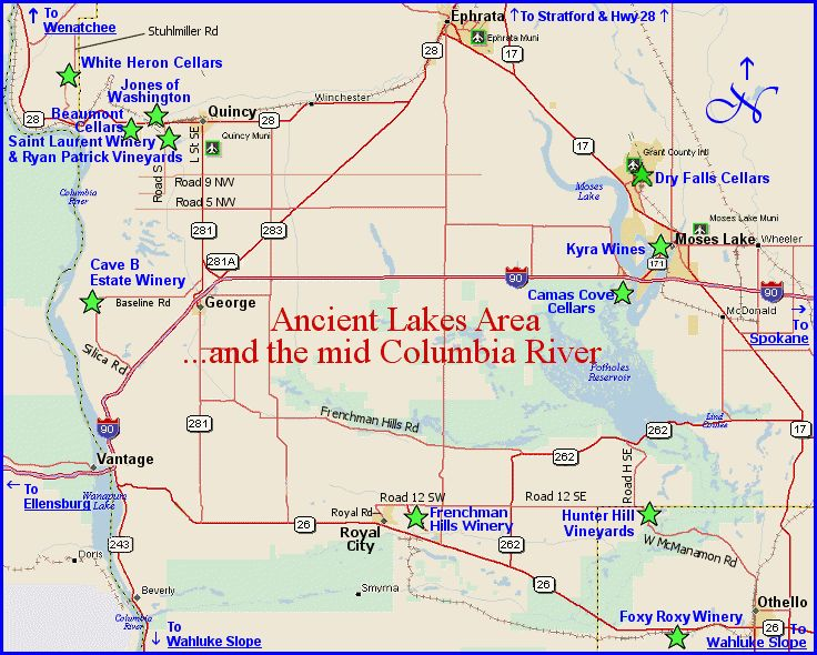 Map to wine winery tasting rooms of the Ancient Lakes and mid-Columbia River area of Washington's Columbia Valley