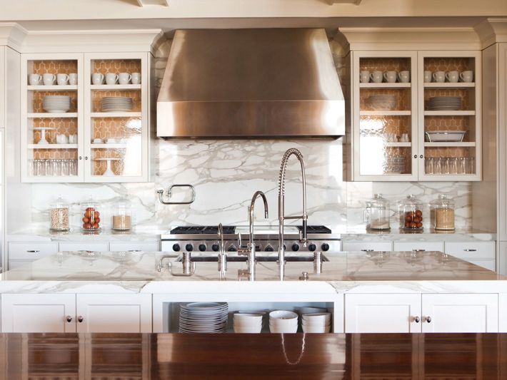 Gorgeous White Kitchen Design With White Glass Front Kitchen Cabinets With  Orange Moorish Tiles Design Wallpaper Backs, Calcutta Gold Marble  Countertops And ...