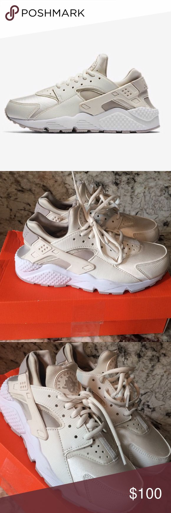 Nike huaraches Brand new in box, never worn. Cream color, very cute. Sadly toosmall for me. great addition to any closet‼️ TRUE TO SIZE Nike Shoes