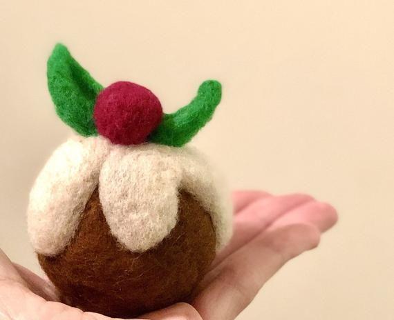 Felt Christmas Pudding Needle Felt Christmas Photo Prop Etsy
