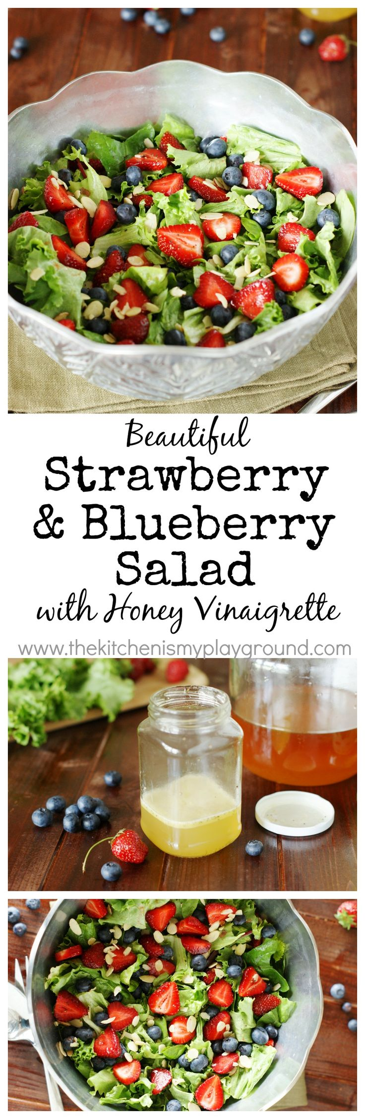 Strawberry, Blueberry & Greens Salad with Honey Vinaigrette ~ as tasty as it is beautiful! #strawberries #blueberries #salad www.thekitchenismyplayground.com