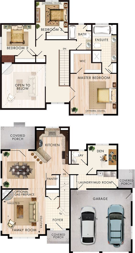 Pinterest: @claudiagabg | Casa 2 pisos 4 cuartos 1 estudio