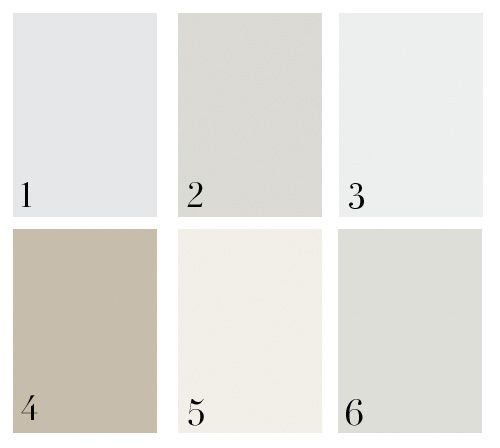 1. Benjamin Moore Full Moon (2119-70), 2. Benjamin Moore Grey Owl (OC-52), 3. Benjamin Moore Misty Gray (2124 -60), 4. Farrow & Ball Light Gray (17), 5. Benjamin Moore Icicle (OC-60), 6. Benjamin Moore Moonshine (OC-56). As you can see, we love Ben Moore colors!