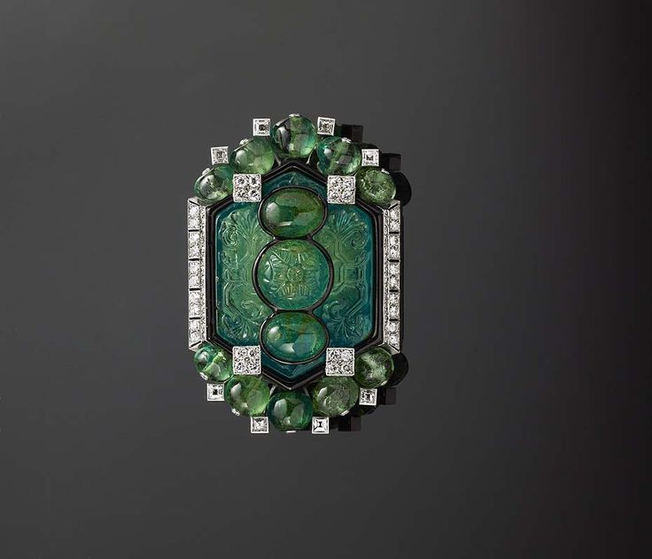 Cartier carved emerald and diamond brooch, as featured in the new Assouline book, 'Beyond Extravagance: A Royal Collection of Gems & Jewels'.