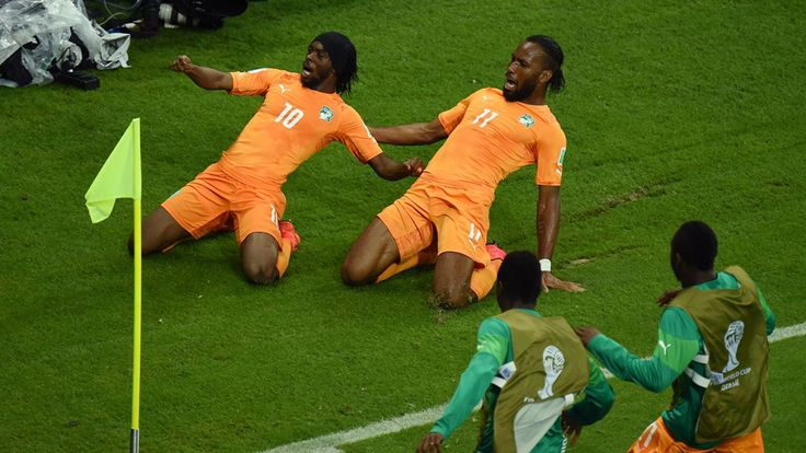 Brazil 2014: The best celebrations - FIFA.com Gervinho of the Ivory Coast (L) celebrates scoring his team's second goal with teammate Didier Drogba