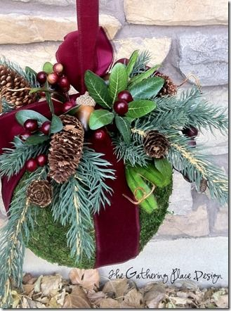 Gorgeous DIY Christmas Kissing Ball Tutorial here  http://thegatheringplacedesign.blogspot.com/2011/11/christmas-kissing-ball-tutorial.html!!!Burgandy velvet kissing ball with a touch of greens!!!