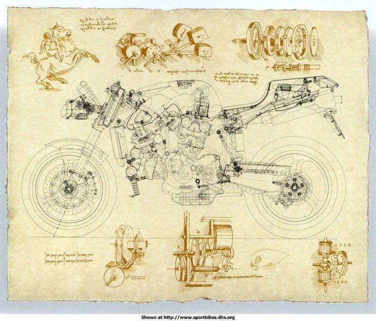 11 best artsy blueprints images on pinterest cars motorcycles motorcycle leonardo style malvernweather Images
